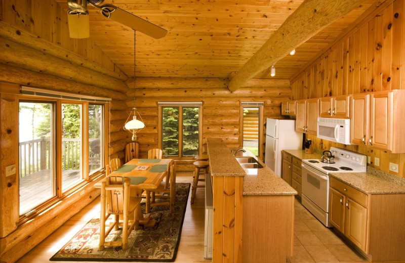Cabin kitchen at Lutsen Resort on Lake Superior.