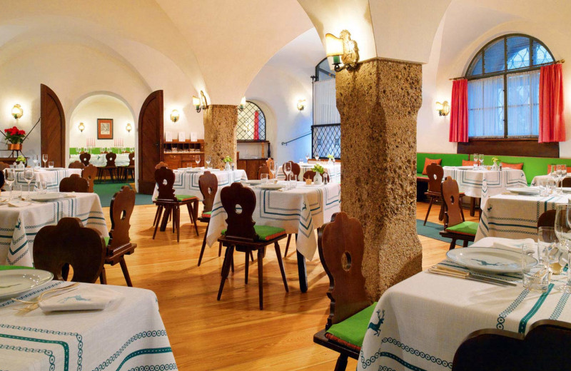 Dining at Hotel Goldener Hirsch.