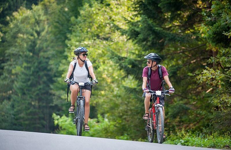 Biking at Chateau Lake Logan.