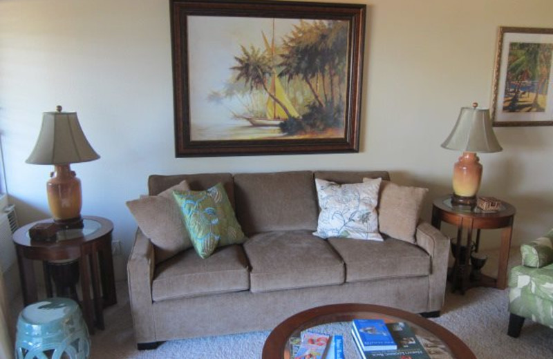 Vacation rental living room at Maui Kamaole.