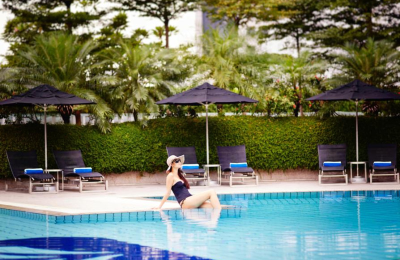 Outdoor pool at Pan Pacific Hotel Singapore.