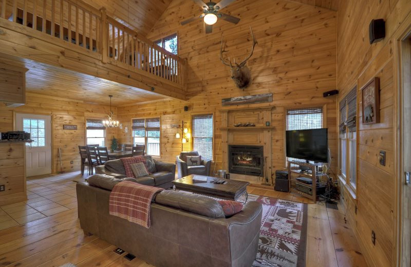 Clear Creek Cabin living room at North Georgia Vacation Spots.