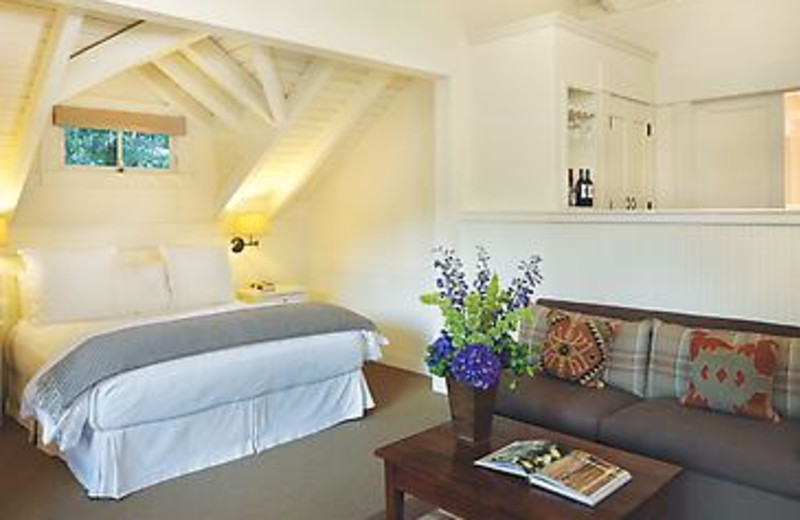 Guest bedroom at Meadowood Napa Valley.