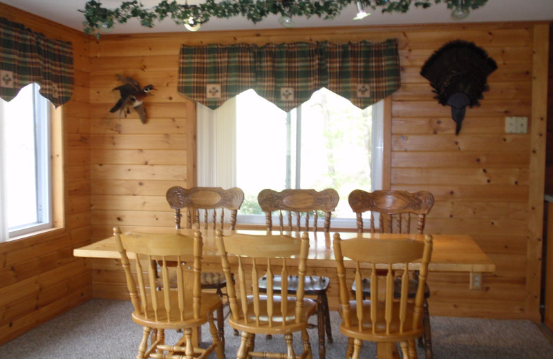 Cabin dining area at Golden Rule Resort.