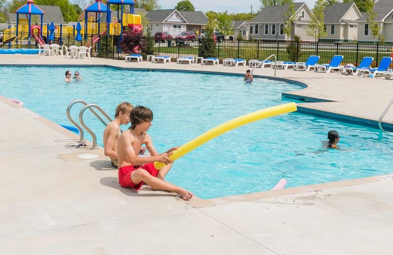 Outdoor pool at Sandbanks Summer Village Cottage Resort.