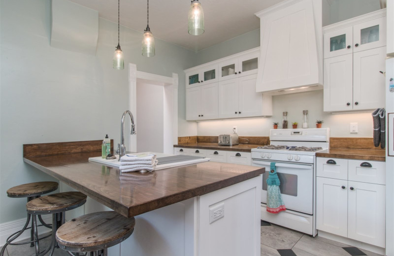 Rental kitchen at Family Time Vacation Rentals.