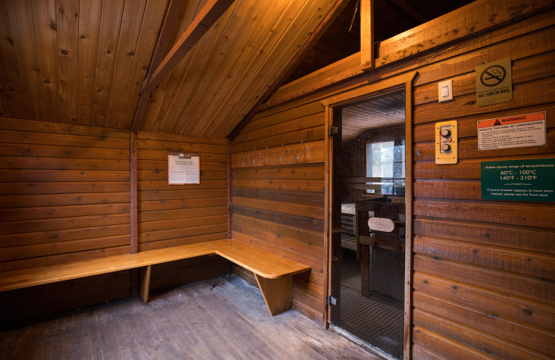 Sauna at Hidden Ridge Resort.