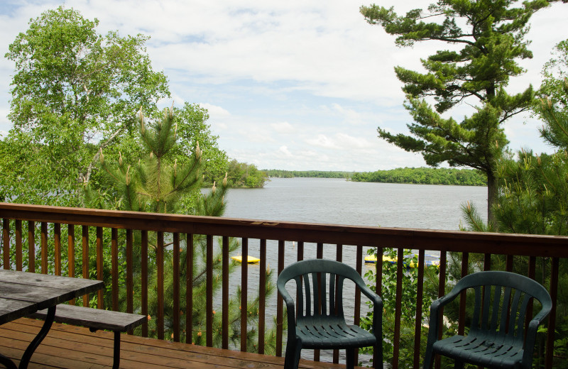 Cabin deck view at Woodland Beach Resort.