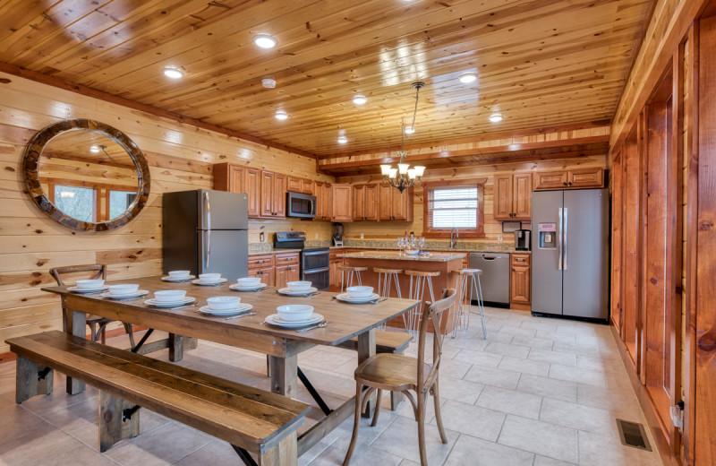 Rental kitchen at Natural Retreats Great Smoky Mountains.