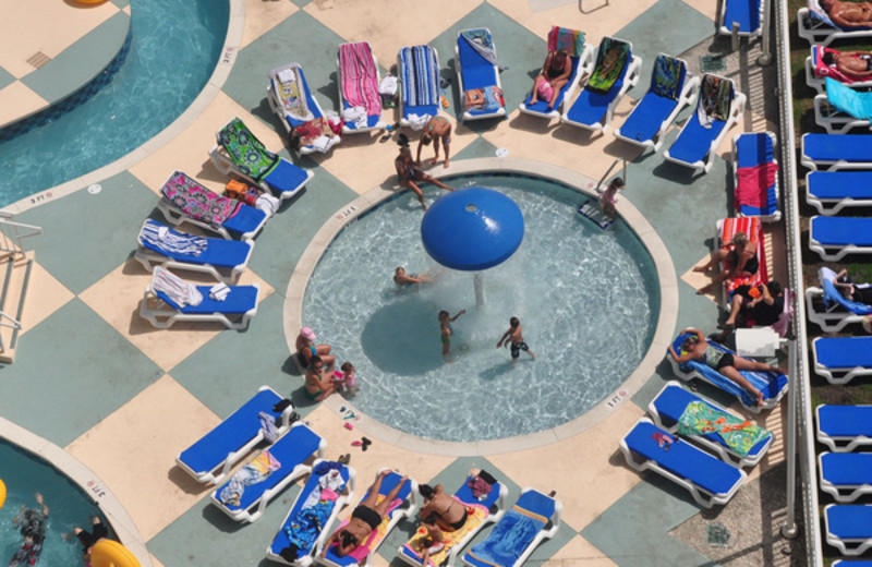 Relaxing by the pool at Avista Resort.