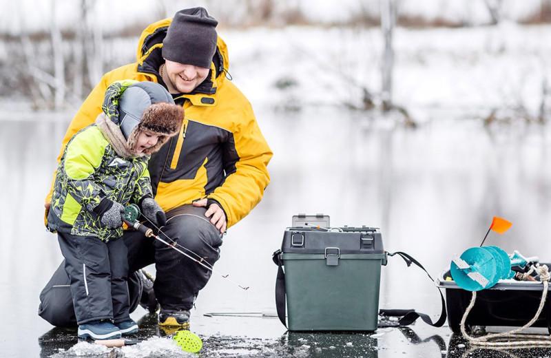 Ice fishing at The Red Door Resort.