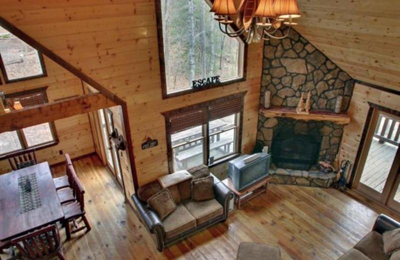 Cabin interior at Georgia Mountain Cabin Rentals.