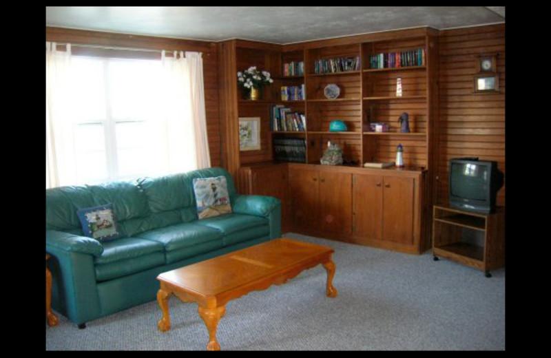 Cabin living room at Lighthouse Lodge Resort.
