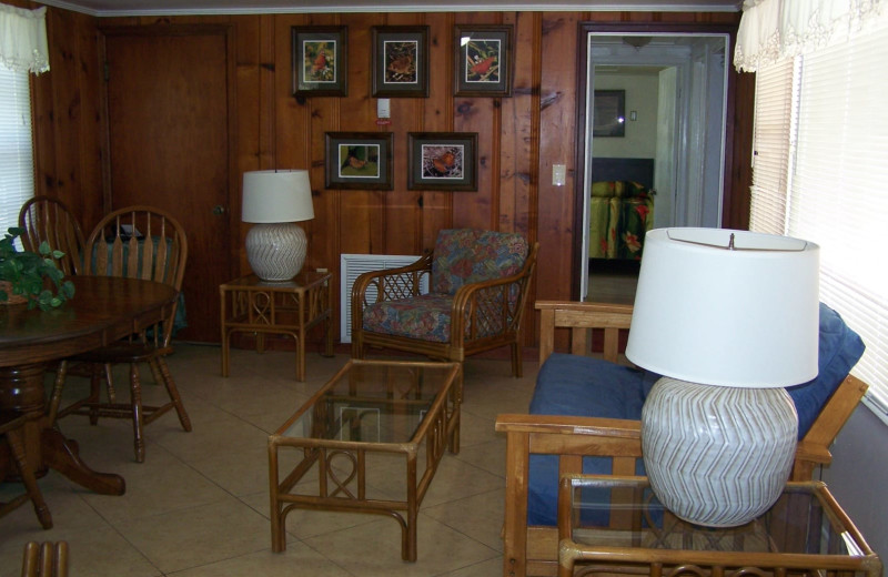 Guest living room at Rock Reef Resort.