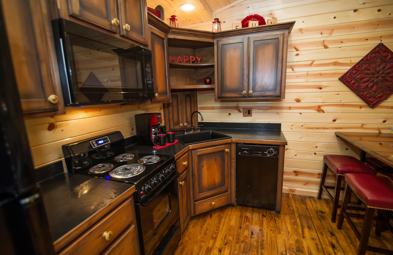 Cabin kitchen at Kiamichi Country Cabins.