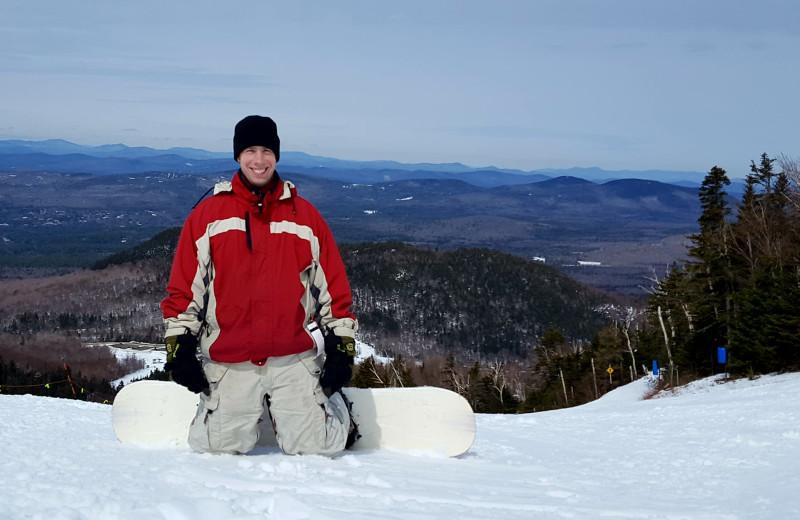 Snowboarding at Riverbank Motel & Cabins.