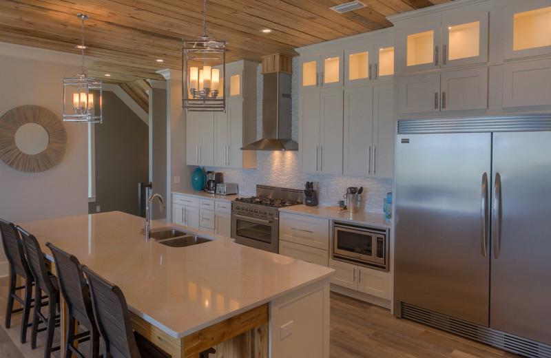 Rental kitchen at No Worries Vacation Rentals.
