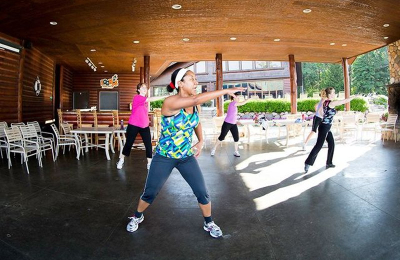 Fitness class at Grand View Lodge.