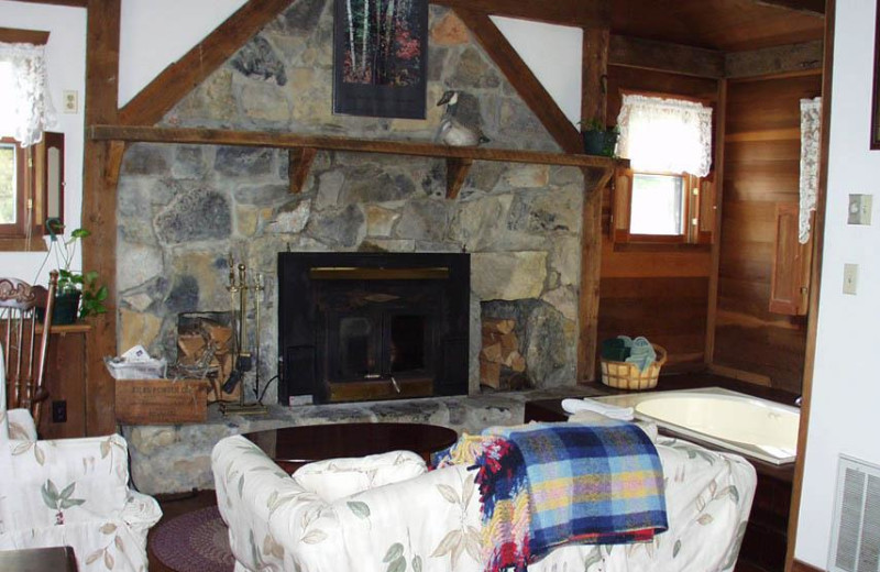 Guest cabin living room at Osceola Mill Country Inn.