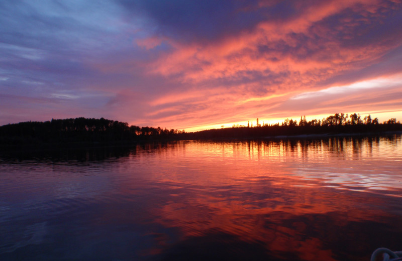 Sunset at Maynard Lake Lodge and Outpost.