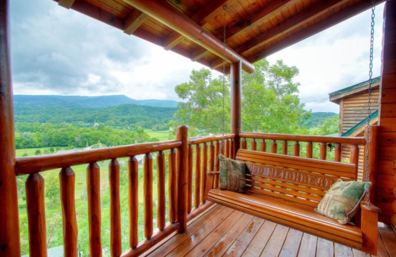 Rental deck at Auntie Belham's Cabin Rentals.