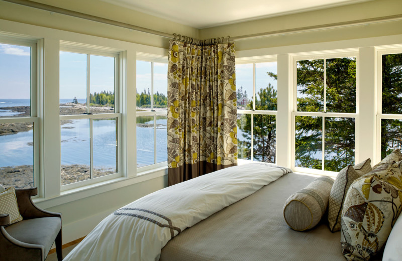 Cottage bedroom at Boothbay Harbor Country Club.