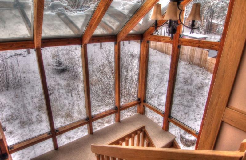 Vacation rental windows at SkyRun Vacation Rentals - Nederland, Colorado.