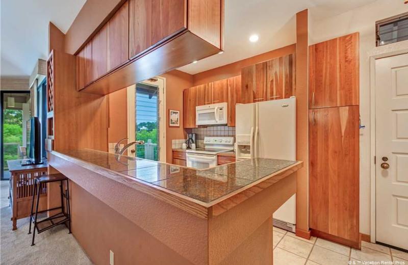 Rental kitchen at Vacation Rental Pros - Maui.