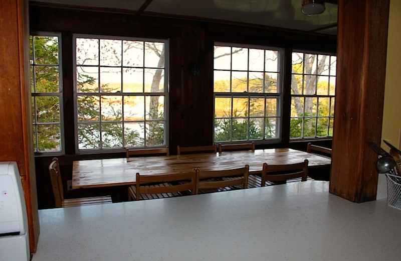 Rental dining room at Harborfields Waterfront Vacation Cottages.