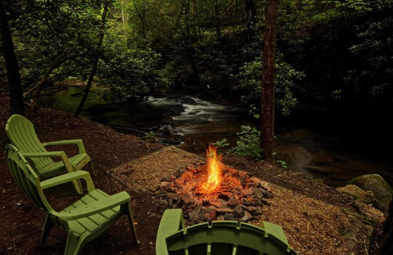Cabin bonfire at Sliding Rock Cabins.