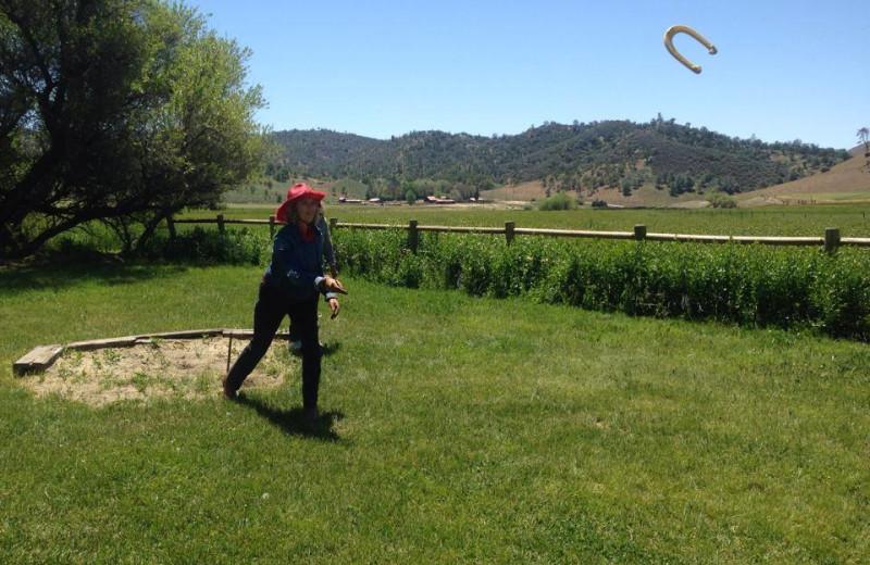 Playing Horseshoes at Rankin Ranch.