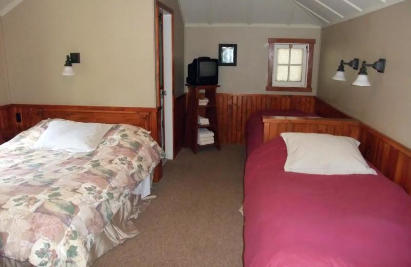 Cabin bedroom at Johnston Canyon Resort.