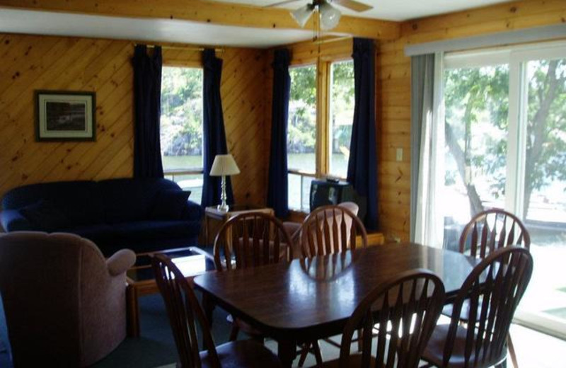 Cabin dining room at Pleasant Cove Resort.
