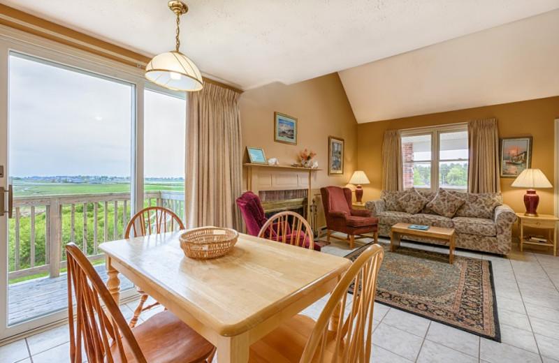 Guest room interior at Misty Harbor Resort.