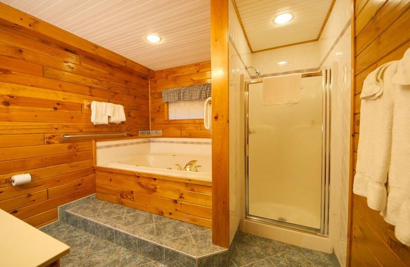 Cabin bathroom at Trout House Village Resort.