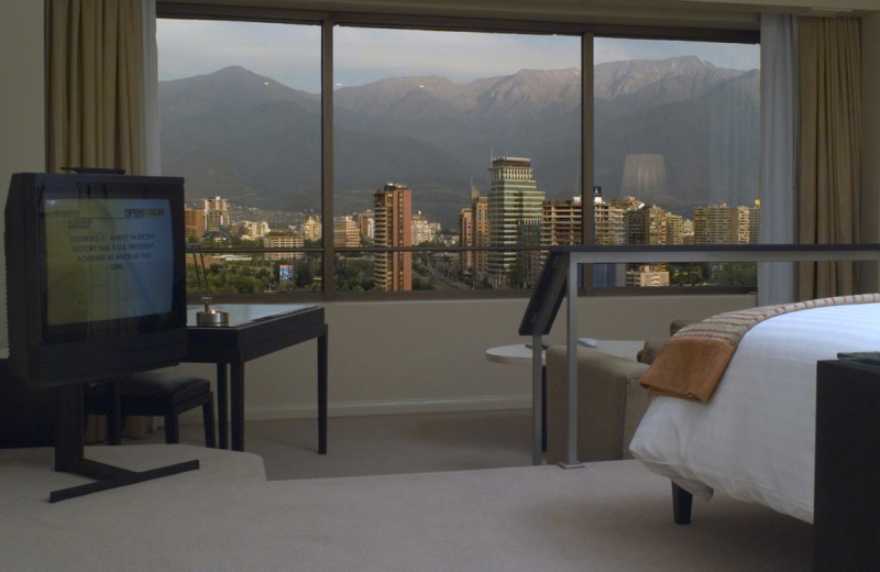 Guest room at Hyatt Regency Santiago.