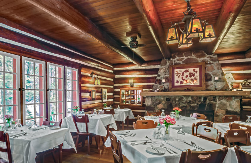 Our historic dining room.  Dining at Killarney Lodge in Algonquin Park.