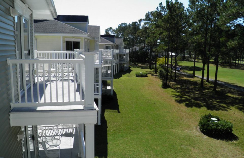 Condo exterior at Brunswick Plantation Resort.