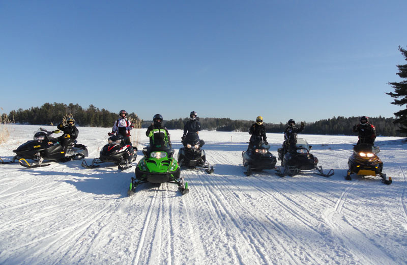 Snowmobiling at Voyagaire Lodge and Houseboats.