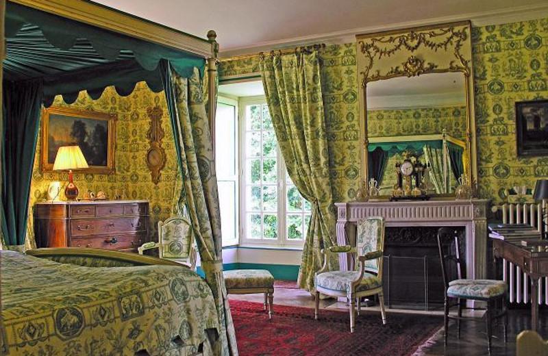Guest room at Chateau de La Barre.
