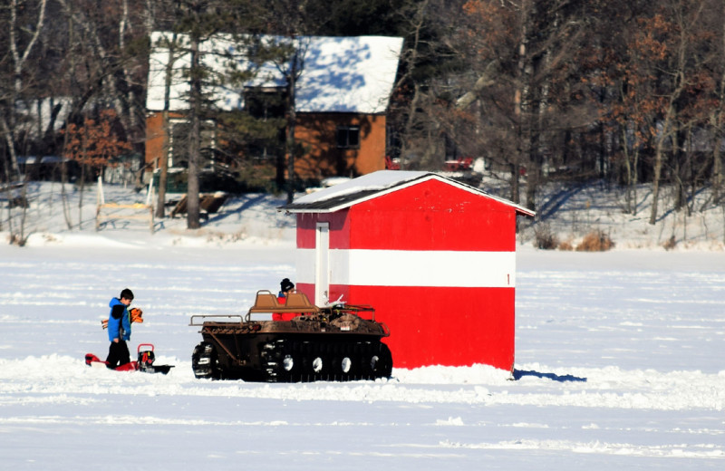 Ice fishing at Big Sandy Lodge & Resort.