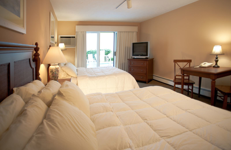 Guest room at Pointes North Beachfront Resort Hotel.