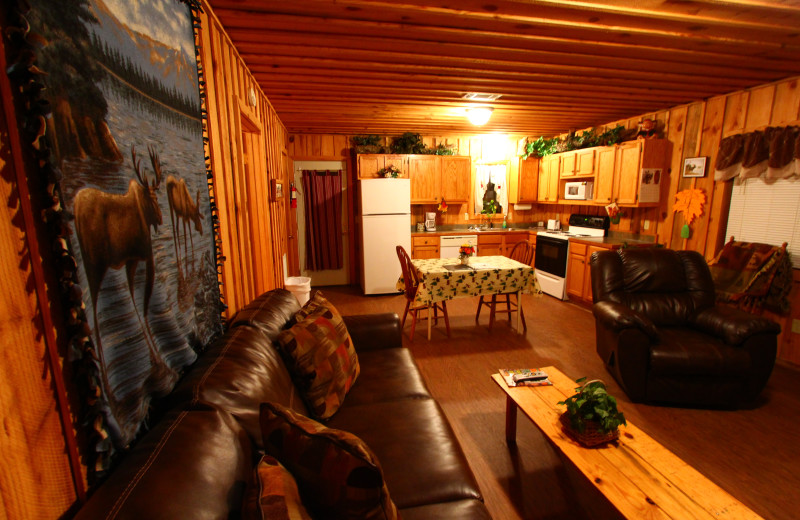 Cabin interior at Heath Valley Cabins.
