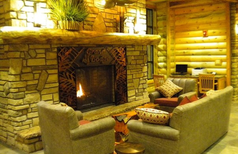 Relax by the fireplace at Grand Lodge at Brian Head.