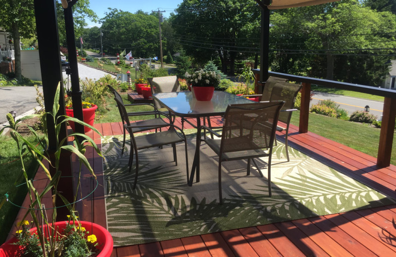 New Pergola deck. Happy hour at Mount Battie on the deck.