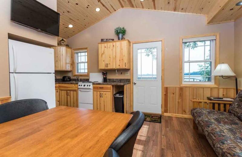 Cabin interior at Barrett Lake Resort.