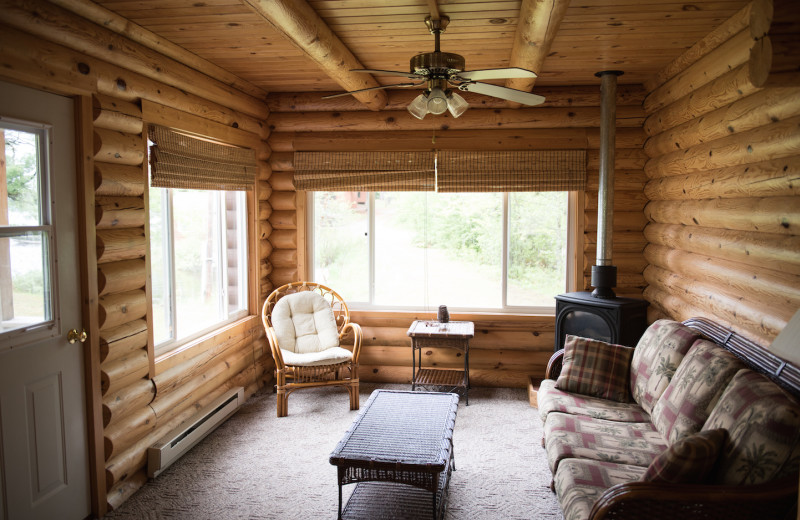 Aurora cabin's living room showing seating and views of the lake.