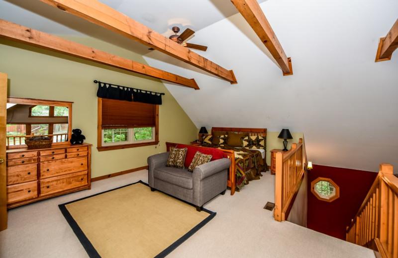 Cabin bedroom at Dogwood Cabins LLC.