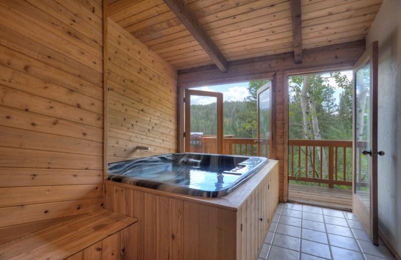 Rental hot tub at Hill Country Lake House.