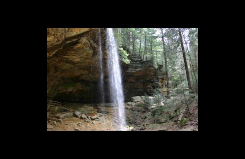 Waterfall view at Hummingbird Hill Cabin Rentals.